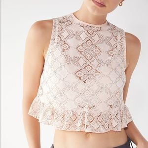 Urban Outfitters Quite Contrary Lace Peplum Tank